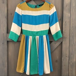 ark & co 3/4 Sleeve Color Block Style Dress Size S